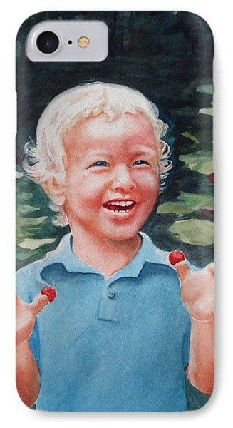 Boy With Raspberries IPhone Case by Marilyn Jacobson