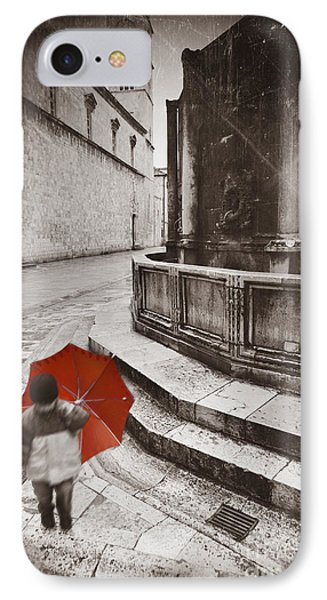 Boy With Umbrella IPhone Case by Rod McLean