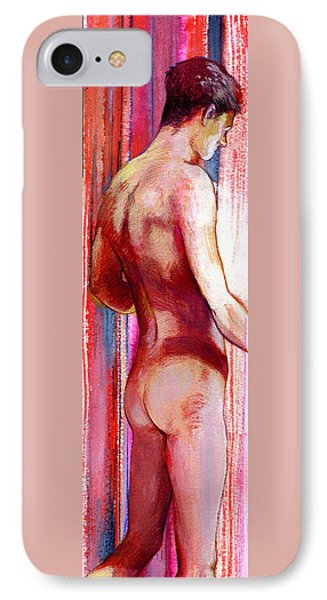 Boy With Vertical Lines Phone Case by Rene Capone