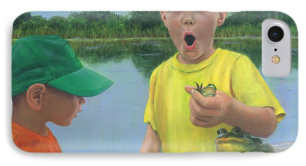 Boys And Frogs IPhone Case by Jeanette French