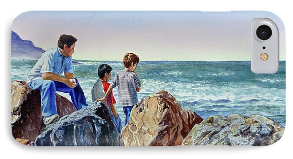 Boys And The Ocean IPhone Case by Irina Sztukowski