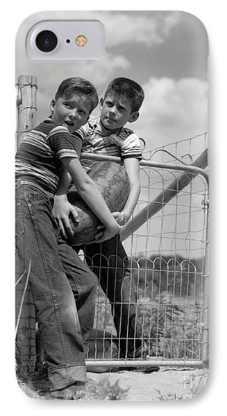 Boys Stealing A Watermelon, C.1950s IPhone 7 Case by H. Armstrong Roberts/ClassicStock