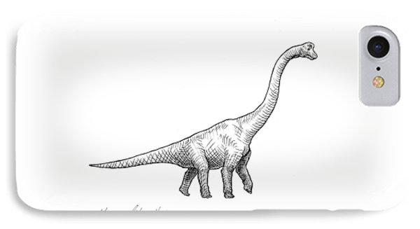 Brachiosaurus Black And White Dinosaur Drawing  IPhone Case by Karen Whitworth