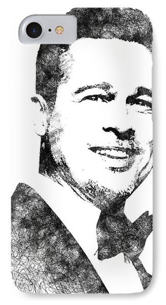Brad Pitt Bw Portrait IPhone Case by Mihaela Pater