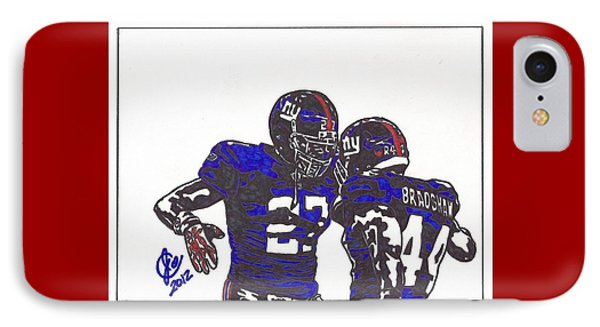 IPhone Case featuring the drawing Brandon Jacobs And Ahmad Bradshaw by Jeremiah Colley