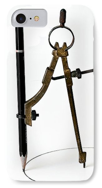 Brass Compass And Pencil IPhone Case by Bob Orsillo