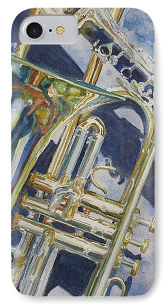 Trombone iPhone 7 Case - Brass Winds And Shadow by Jenny Armitage