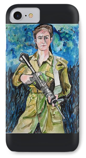 IPhone Case featuring the painting Bravado, An Israeli Woman Soldier by Esther Newman-Cohen
