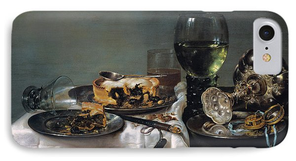 Breakfast Table With Blackberry Pie IPhone Case by Willem Claeszoon Heda