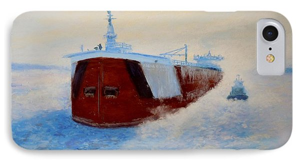 Breaking Ice For The Edgar B. Speer In Sturgeon Bay IPhone Case by Bethany Kirwen