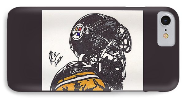 IPhone Case featuring the drawing Brett Keisel by Jeremiah Colley