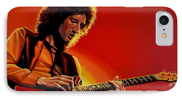 Jimmy Page iPhone 7 Case - Brian May Of Queen Painting by Paul Meijering