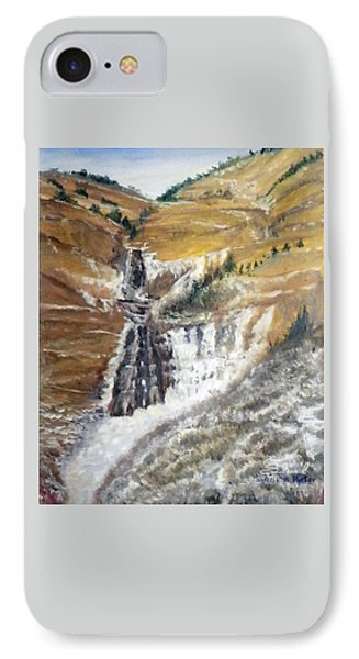 IPhone Case featuring the painting Bridal Veil Falls In Winter by Sherril Porter