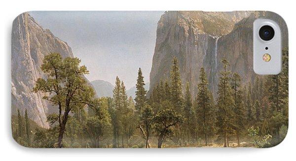 Bridal Veil Falls Yosemite Valley California IPhone Case by Albert Bierstadt