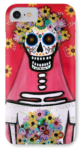 IPhone Case featuring the painting Bridezilla Dia De Los Muertos by Pristine Cartera Turkus