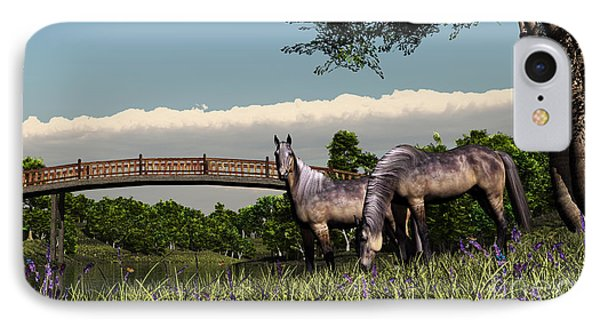 Bridge And Two Horses IPhone Case by Walter Colvin