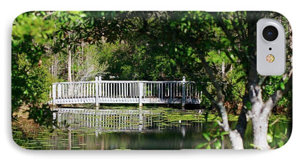 Bridge On Lilly Pond IPhone Case by Lori Mellen-Pagliaro