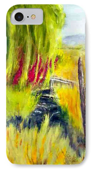 IPhone Case featuring the painting Bridge Over Small Stream by Sherril Porter