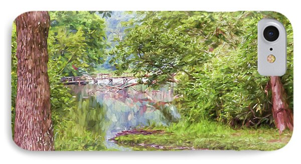 IPhone Case featuring the photograph Bridge Through The Trees - Impasto Style Art by Kerri Farley