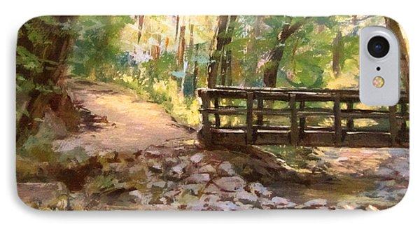 Bridge To The Falls IPhone Case by Karen Ilari