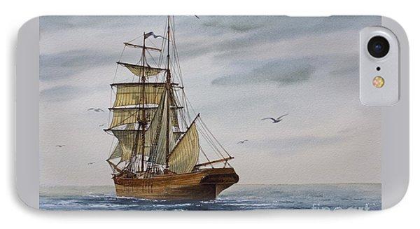 Brigantine Making Sail IPhone Case by James Williamson