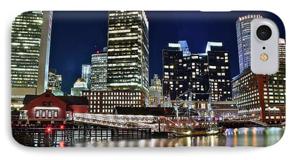 Bright Boston Lights On The Water IPhone Case by Frozen in Time Fine Art Photography