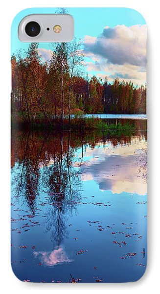 Bright Colors Of Autumn Reflected In The Still Waters Of A Beautiful Forest Lake IPhone Case