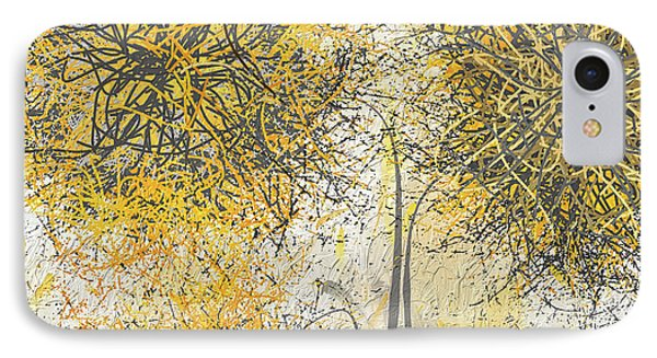 Brighter Blooms - Yellow And Gray Modern Artwork IPhone Case by Lourry Legarde