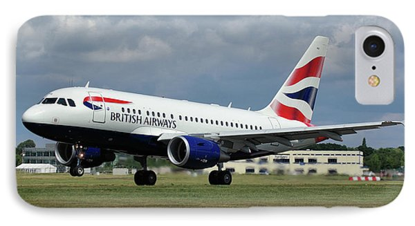 IPhone Case featuring the photograph British Airways A318-112 G-eunb by Tim Beach