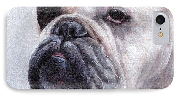 British Bulldog Painting IPhone Case by Rachel Stribbling