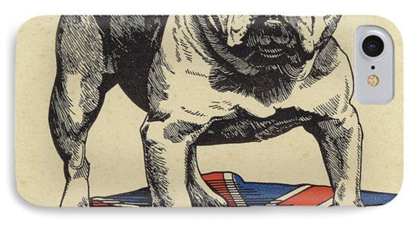 British Bulldog Standing On The Union Jack Flag IPhone Case by English School