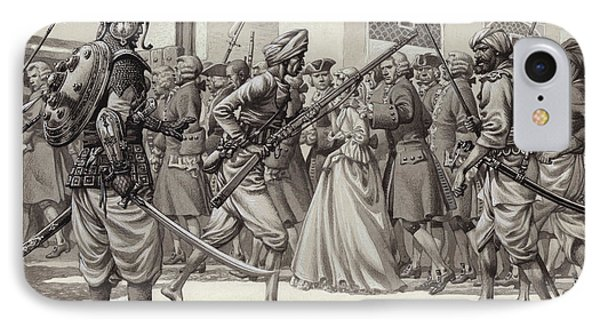 British Soldiers Are Forced Into The Black Hole Of Calcutta IPhone Case by Pat Nicolle