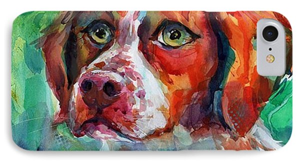 Brittany Spaniel Watercolor Portrait By IPhone Case