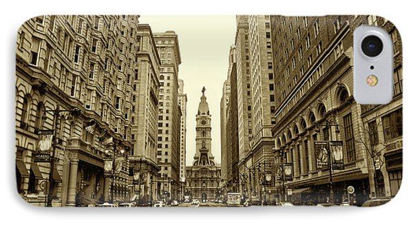Broad Street Facing Philadelphia City Hall In Sepia IPhone Case by Bill Cannon