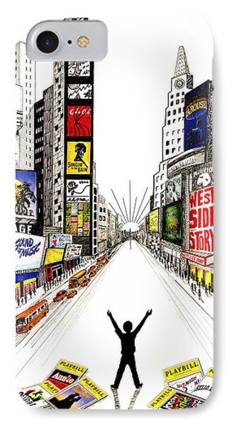IPhone Case featuring the drawing Broadway Dreamin' by Marilyn Smith