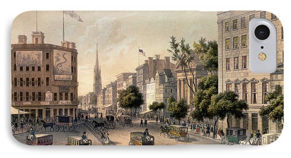 Broadway In The Nineteenth Century IPhone Case by Augustus Kollner