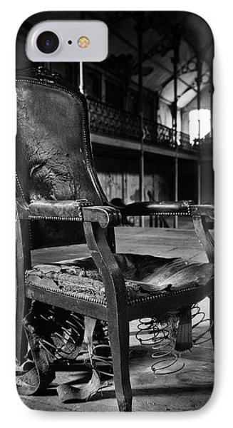 brokan chair at deserted theatre - BW abandoned places urban exp IPhone Case by Dirk Ercken