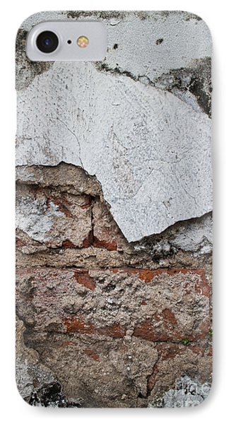 IPhone Case featuring the photograph Broken White Stucco Wall With Weathered Brick Texture by Jason Rosette