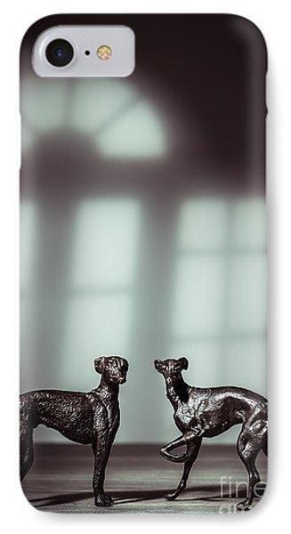 Bronze Greyhound Figures IPhone Case by Amanda Elwell
