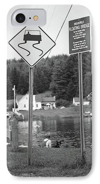 IPhone Case featuring the photograph Brookfield, Vt - Floating Bridge 2 Bw by Frank Romeo