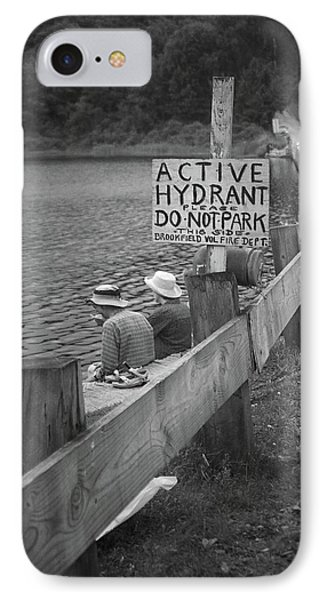 IPhone Case featuring the photograph Brookfield, Vt - Floating Bridge 4 Bw by Frank Romeo