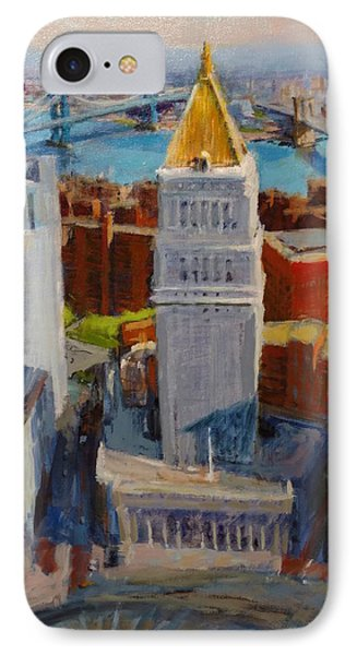 Brooklyn And East River Bridges From Foley Square Phone Case by Peter Salwen