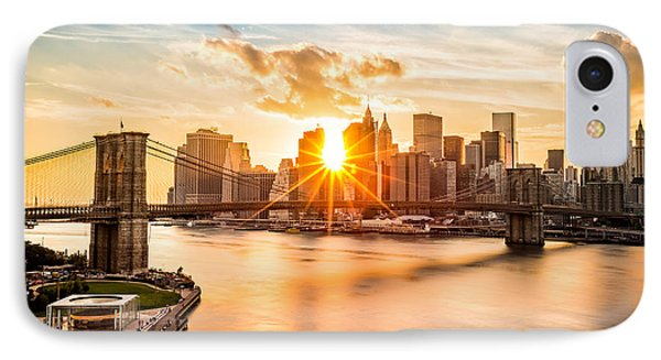 Architecture iPhone 7 Case - Brooklyn Bridge And The Lower Manhattan Skyline At Sunset by Mihai Andritoiu