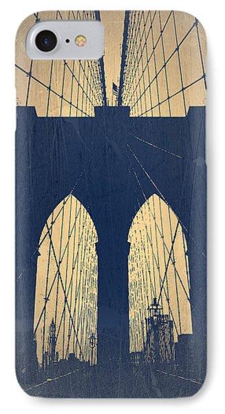 Brooklyn Bridge Blue Phone Case by Naxart Studio