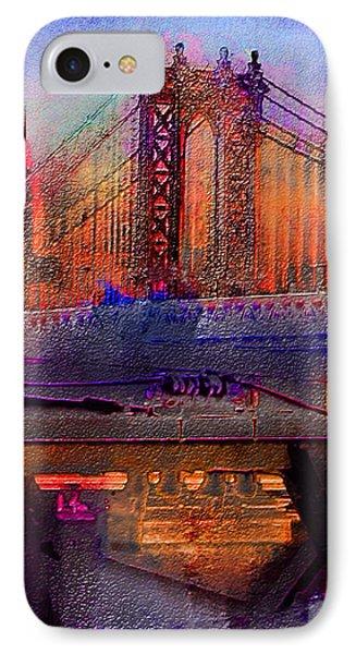 IPhone Case featuring the digital art Brooklyn Bridge by Iowan Stone-Flowers