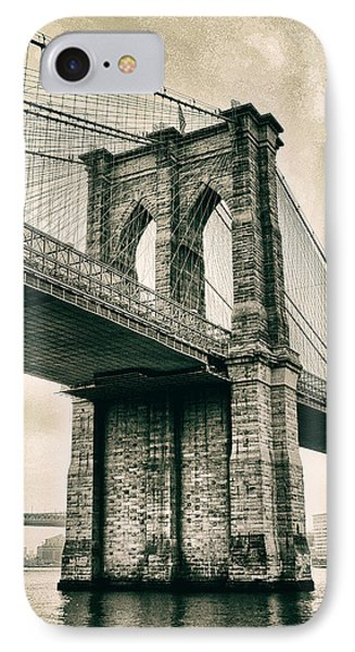 Brooklyn Bridge Sepia IPhone Case by Jessica Jenney
