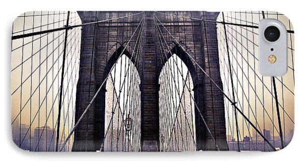 Brooklyn Bridge Suspension Cables IPhone Case by Ray Devlin