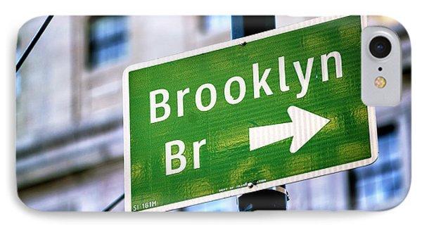 Brooklyn Bridge This Way IPhone Case by John Rizzuto