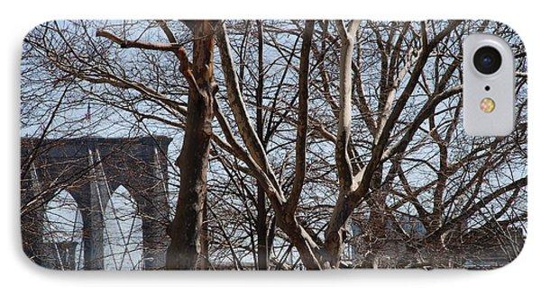 Brooklyn Bridge Thru The Trees Phone Case by Rob Hans