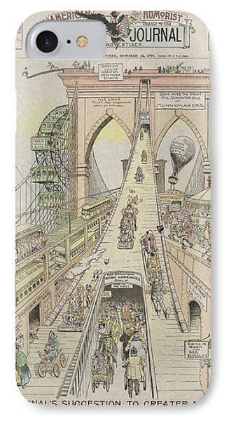 IPhone Case featuring the photograph Brooklyn Bridge Trolley Right Of Way Controversy 1897 by Daniel Hagerman